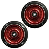 1080 Stunt Scooter Wheels 110mm Solid Alloy Core (Pair) - Red/Black