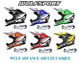 Casque moto adulte WULF ADVANCE ADULTE CASQUE motocross Quad MX Enduro hors route Sports ACU ECE Casque + moto x1 ...