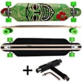 FunTomia Freerider Longboard / Érable canadien 9 Plis / charge max 110 kg / Roues 70x51mm / Roulements ABEC-11 (Hawaii ...