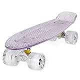 Skateboard LAND SURFER® Rétro Cruiser avec planche transparente de 56 cm - Roulements ABEC-7 - Roues de 59 mm à ...