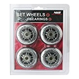 Skating wheels for leisure inline Skating PU 84 MM / 82A of 4 CHROME ABEC7 St. 8 Bearings Nils by ...